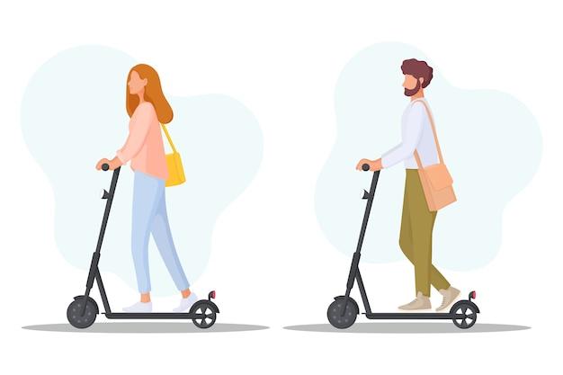 若者は電動スクーターに乗ります。生態学の輸送の概念。エコフレンドリーな個人輸送。図。 Premiumベクター