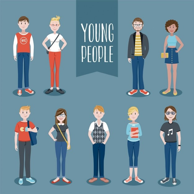 Young people set Free Vector