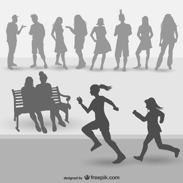 Young people silhouettes Free Vector