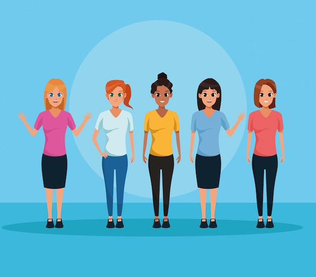 Young people smiling on blue background Free Vector