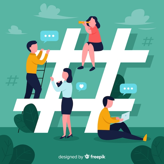 Young people on social media background Free Vector