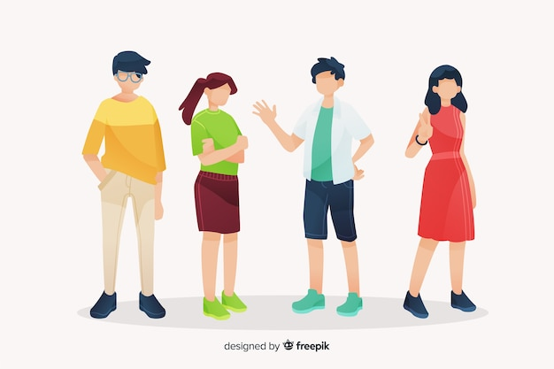 Young people spending time together Free Vector