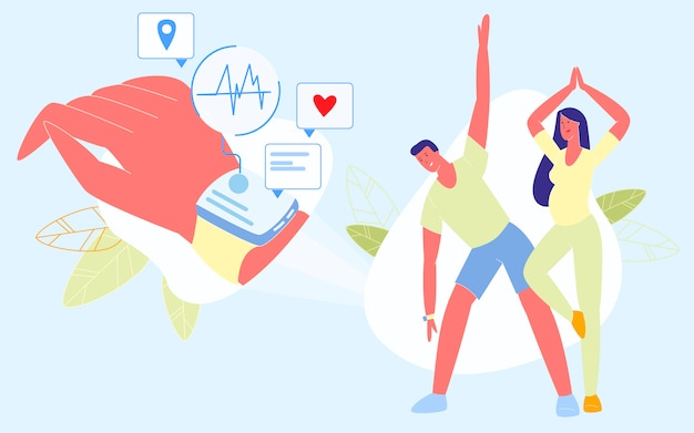 Young people sports exercises with smart watches Premium Vector