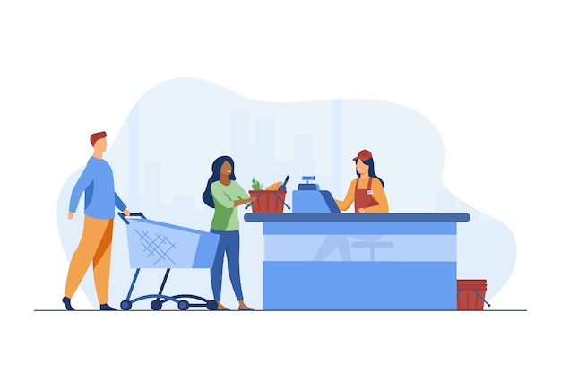 Young people standing near cashier in grocery store. counter, payment, buyer flat vector illustration. food, meal and products Free Vector