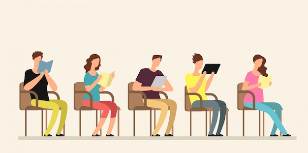 Young people studying with books in group. Premium Vector