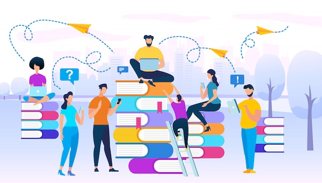 Young people stydying together sit on books heaps Premium Vector