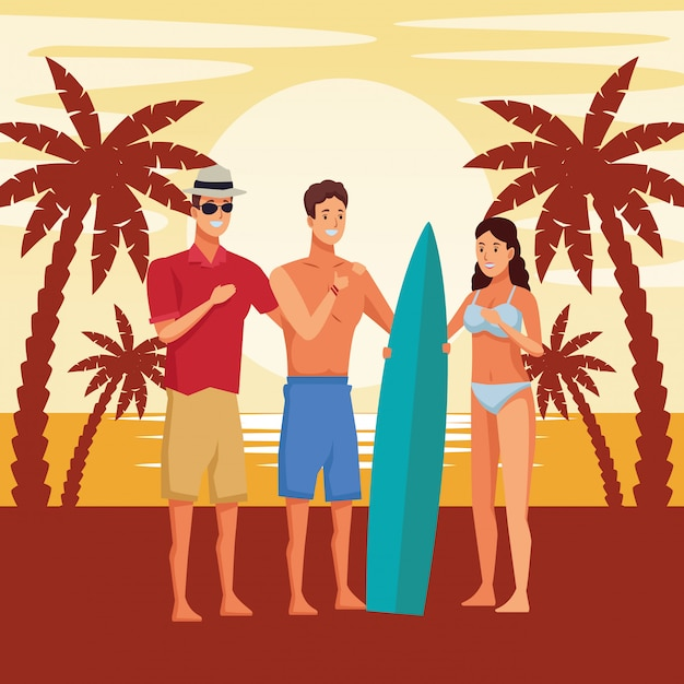 Young people and summer cartoons Free Vector