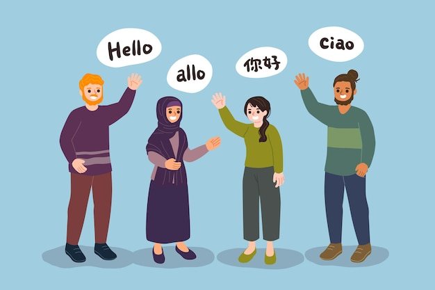 Young people talking in different languages collection Free Vector