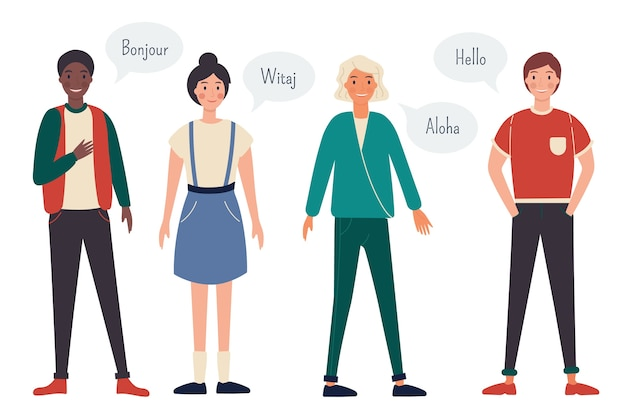 Young people talking in different languages group Free Vector