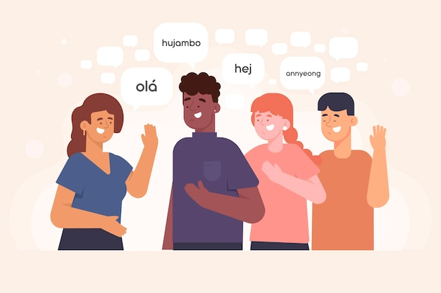 Young people talking in different languages illustrations pack Free Vector
