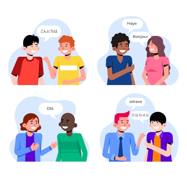 Young people talking in different languages set Free Vector