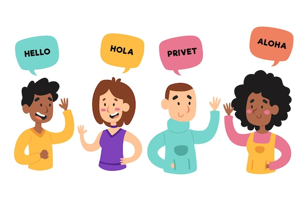 Young people talking in different languages Free Vector