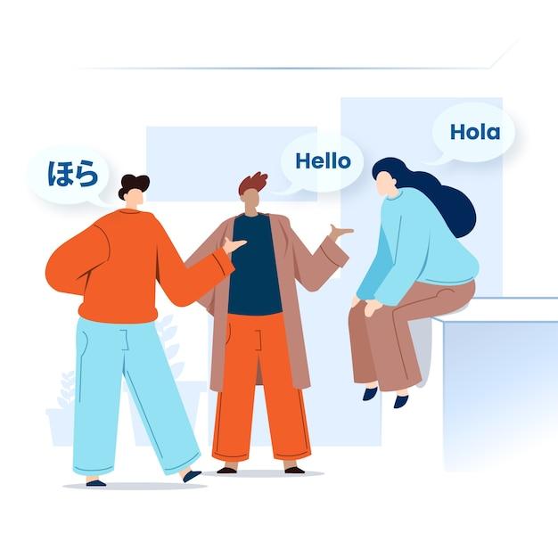 Молодые люди говорят на иностранных языках с речевыми пузырями Бесплатные векторы