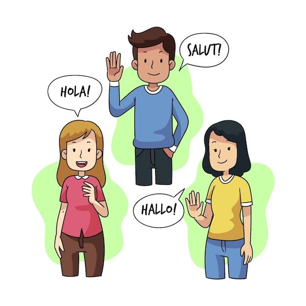 Молодые люди говорят на разных языках группы иллюстраций Бесплатные векторы