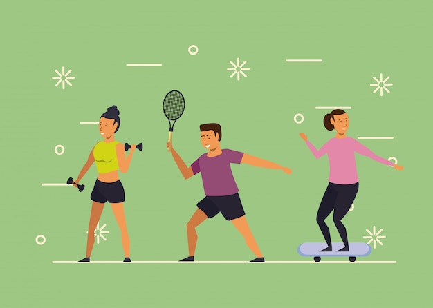 Young people training sports cartoon Free Vector