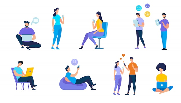 Young people using devices on white background Premium Vector
