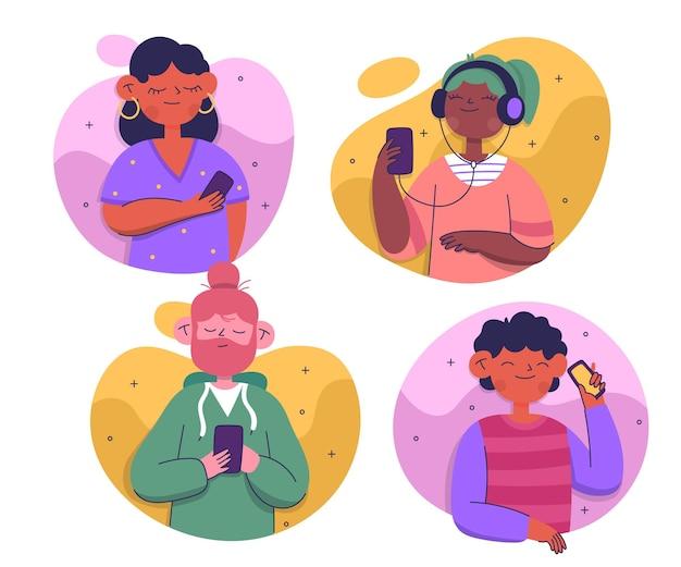 Set di giovani che utilizzano smartphone Vettore gratuito