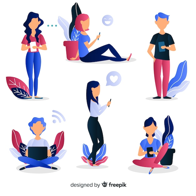 Young people using technological devices. character design set Free Vector