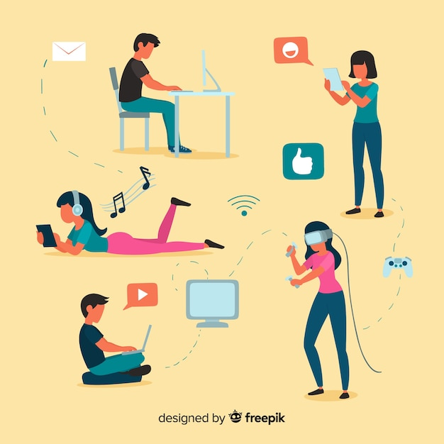 Young people using technological devices Free Vector