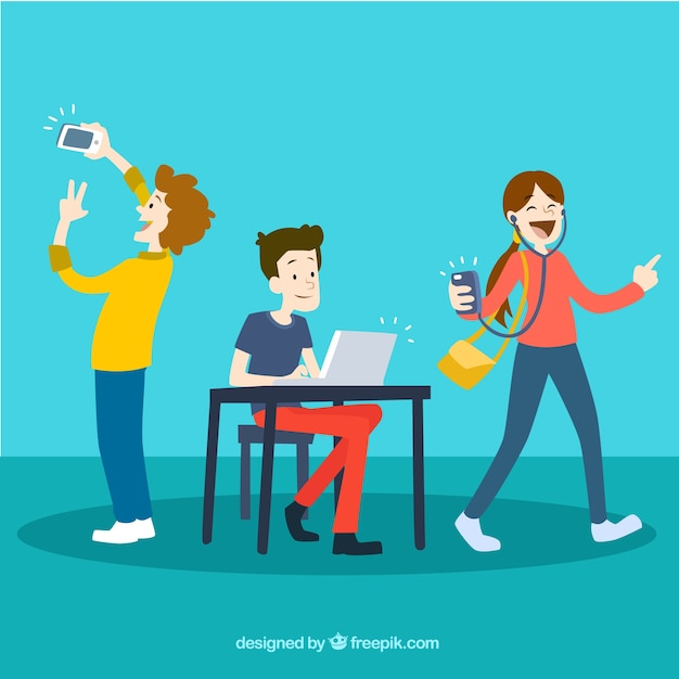 Young people using technology Free Vector