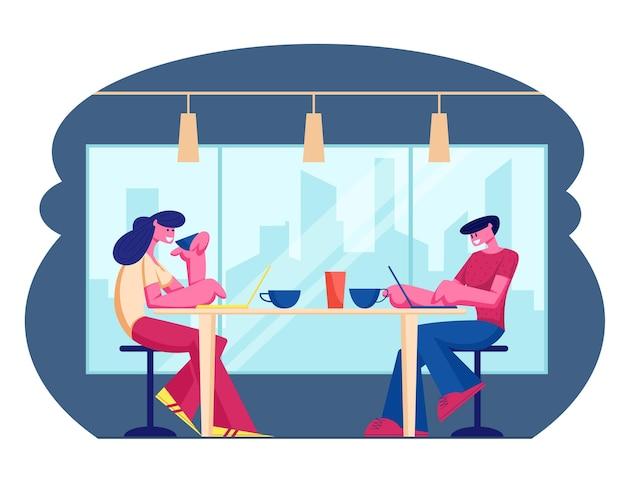 카페 및 환대 개념을 방문하는 젊은 사람들. 만화 평면 그림 프리미엄 벡터