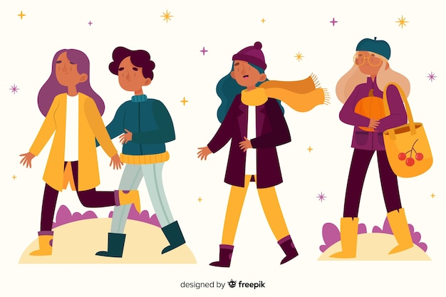 Young people walking in the park Free Vector