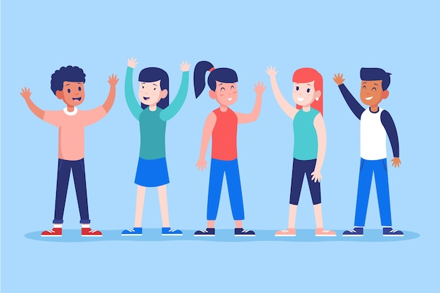 Young people waving hand illustration Free Vector