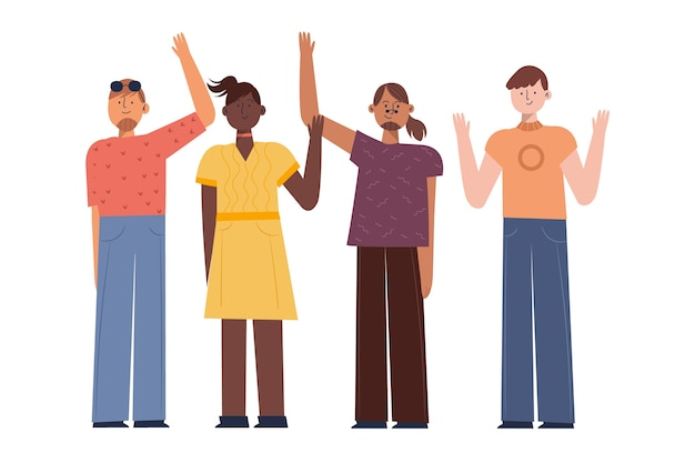 Young people waving hand set Free Vector
