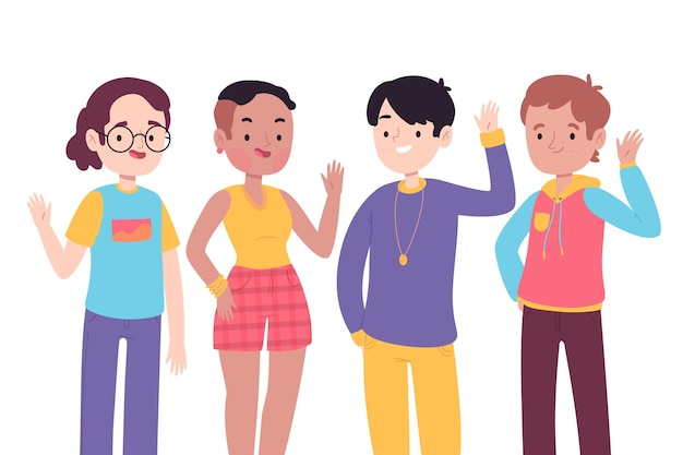 Young people waving hand Free Vector