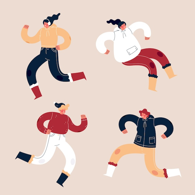 Young people wearing winter clothes jumping on pink background Free Vector