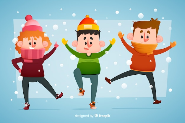 Young people wearing winter clothes jumping in the snow Free Vector