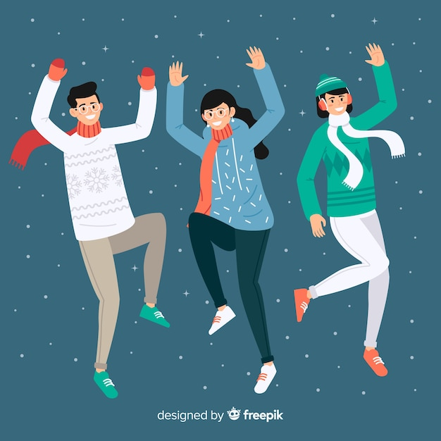 Young people wearing winter clothes and  jumping Free Vector