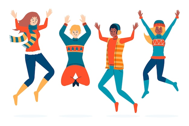 Young people wearing winter clothes jumping Free Vector