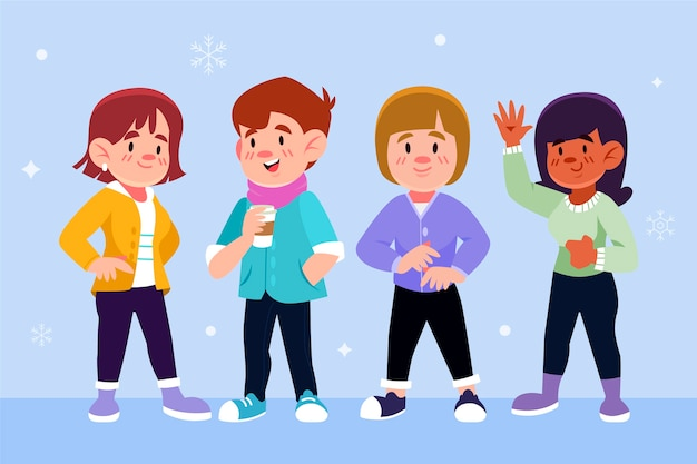 Young people wearing winter clothes Free Vector