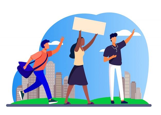 Giovani con banner alla riunione sociale Vettore gratuito