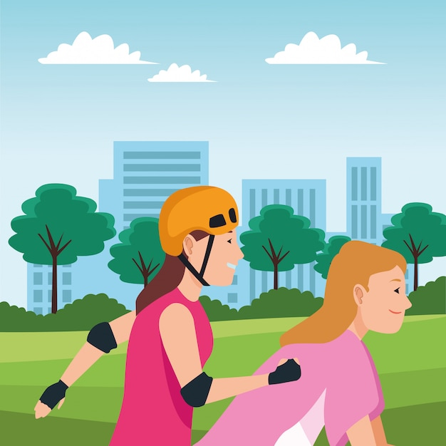 Young people with bike and skateboard Premium Vector