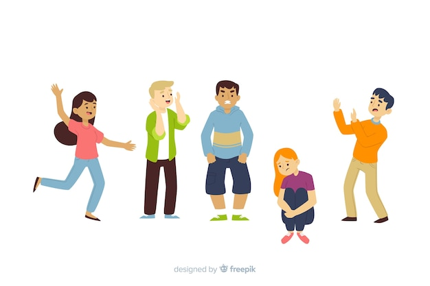 Young people with different emotions Free Vector