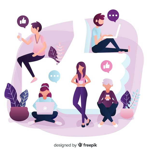 Young people with facebook like symbol. social media concept Free Vector
