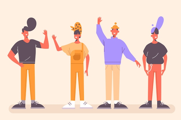 Young people with hands up Free Vector