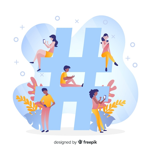 Young people with hashtag symbol Free Vector