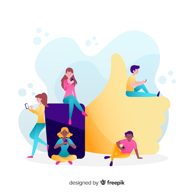 Young people with like symbol Free Vector