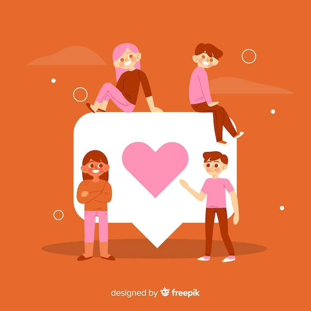 Young people with red heart symbol Free Vector