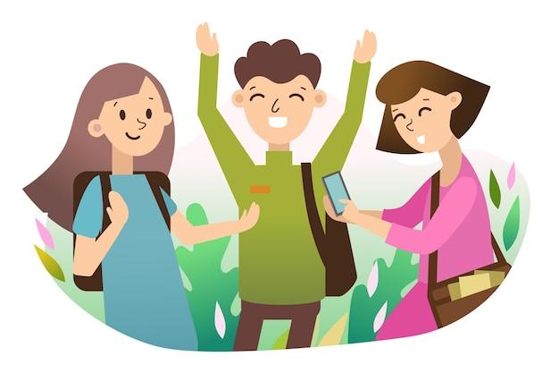 Giovani con smartphone Vettore gratuito