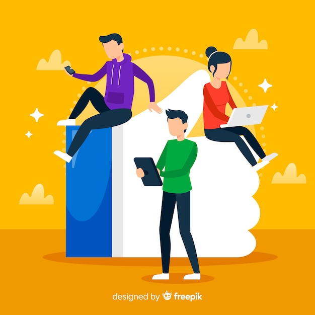 Young people with thumb like symbol Free Vector