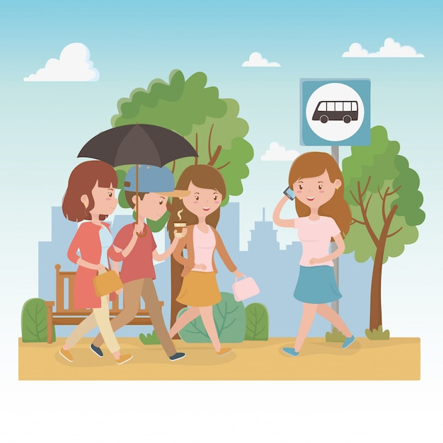 Young people with umbrella walking in the park characters Free Vector
