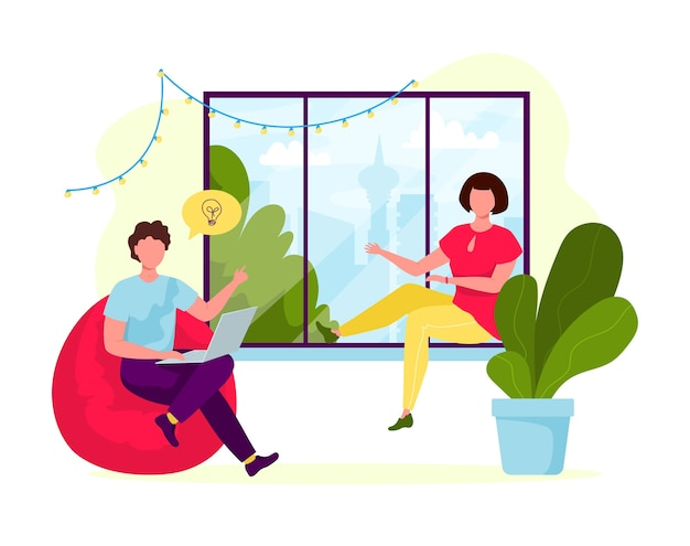 Молодые люди работают вместе в уютном интерьере. концепция людей центра коворкинга. деловая встреча. общая рабочая среда. люди разговаривают и работают в офисе открытого пространства возле окна. плоский дизайн Premium векторы