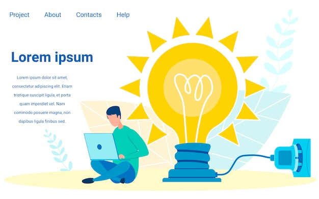 Young person keeps personal blog landing page Premium Vector