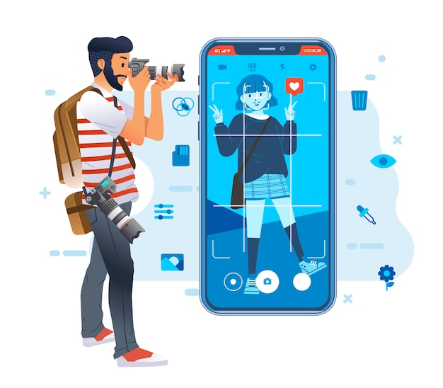 Young photographer man taking a picture of young fashionable girl for social media image with icon around and smartphone illustration. used for poster, website image and other Premium Vector