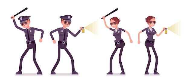 攻撃と防御の若い警察官 Premiumベクター