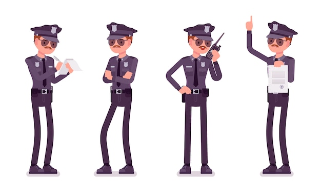 Young policeman unhappy with his job banner Premium Vector